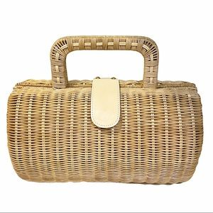 Maxx New York Rounded Wooden Wicker Picnic Bag
